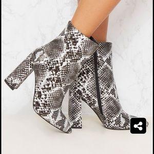 NEW PrettyLittleThing Snakeskin booties